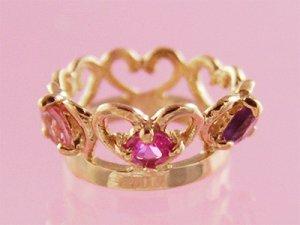 画像1: 刻印できるティアラベビーリング宝石3個/K10ピンクゴールド