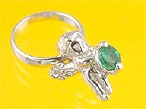 画像1: 心から誕生を祝福する天使の指輪 エンジェルベビーリング エメラルド