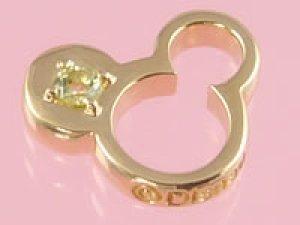画像1: 誕生石のミッキーマウスがお守りになる ゴールドディズニーベビーリング ペリドット