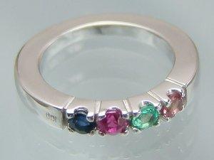 画像1: リングに刻印できて4個の宝石が選べるベビーリング サイズの大きなハーモニーリング/K10ホワイトゴールド