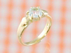 画像1: 愛あるファーストプレゼントに誕生指輪を K18ゴールドジュエルベビーリング アクアマリン