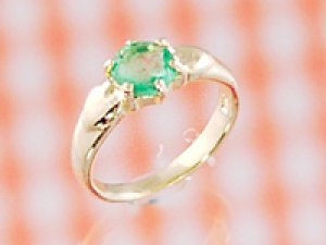 画像1: 愛あるファーストプレゼントに誕生指輪を K18ゴールドジュエルベビーリング エメラルド