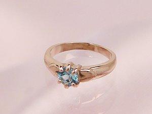画像1: 愛あるファーストプレゼントに誕生指輪を K10ピンクゴールド ジュエルベビーリング [ブルートパーズ]