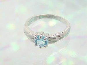 画像1: 愛あるファーストプレゼントに誕生指輪を K10ホワイトゴールド ジュエルベビーリング [ブルートパーズ]