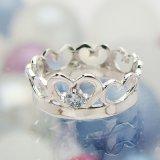 刻印できるちょっと大きめサイズのクイーンベビーリング/プラチナ900[アクアマリン(3月の誕生石/天然宝石)]