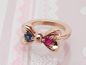 画像1: 刻印できるかわいいリボンのベビーリング K18ピンクゴールド 宝石2個 刻印無料