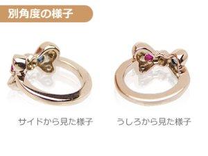 画像2: 刻印できるかわいいリボンのベビーリング K18ピンクゴールド 宝石2個 刻印無料